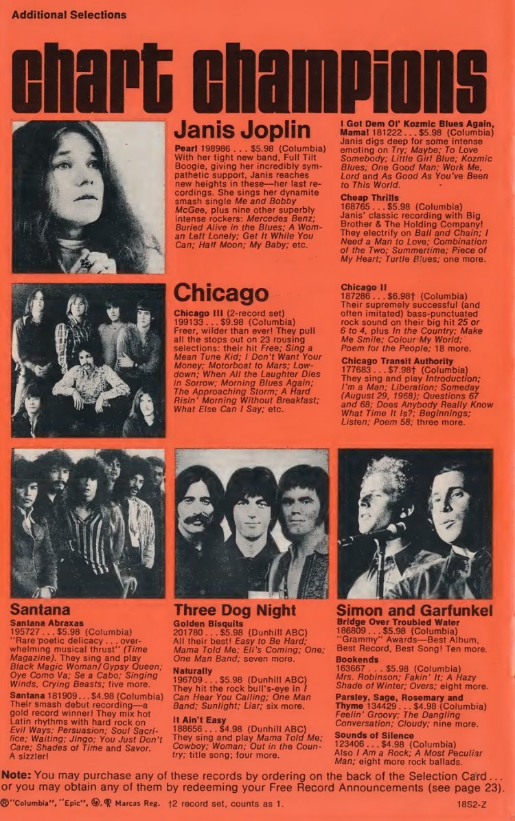 Vintage Columbia Record Club magazine with offers - 1971-5