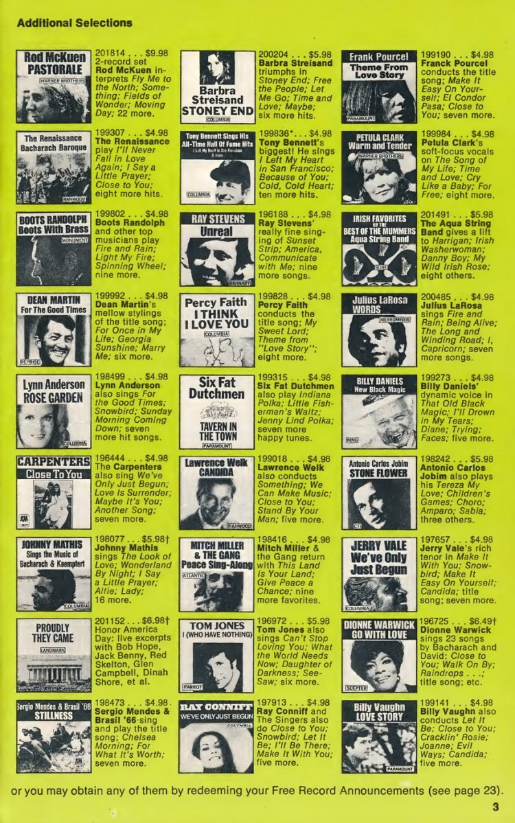Vintage Columbia Record Club magazine with offers - 1971-6