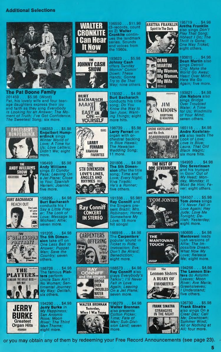 Vintage Columbia Record Club magazine with offers - 1971-7