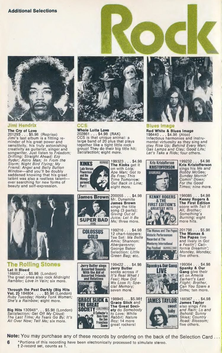 Vintage Columbia Record Club magazine with offers - 1971-8