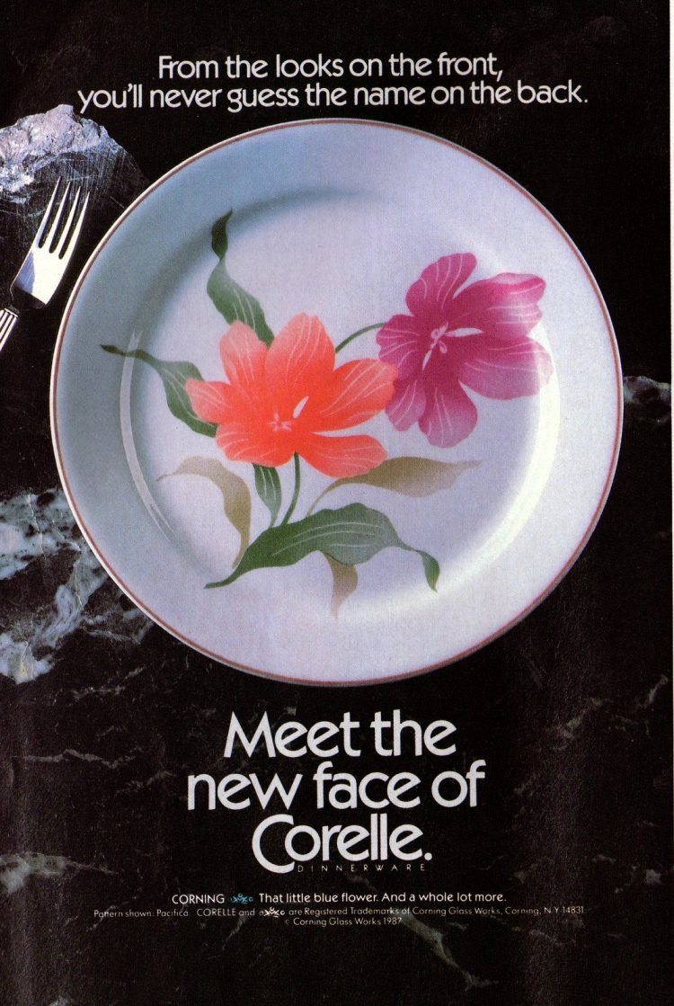 Vintage Corelle Pacifica pattern plates from 1987
