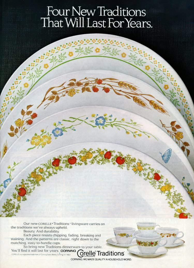 Vintage Corning Corelle Traditions dishes - Plates, bowls, cups (1981)