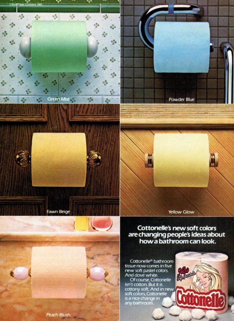Vintage Cottonelle toilet paper in colors - 1980s