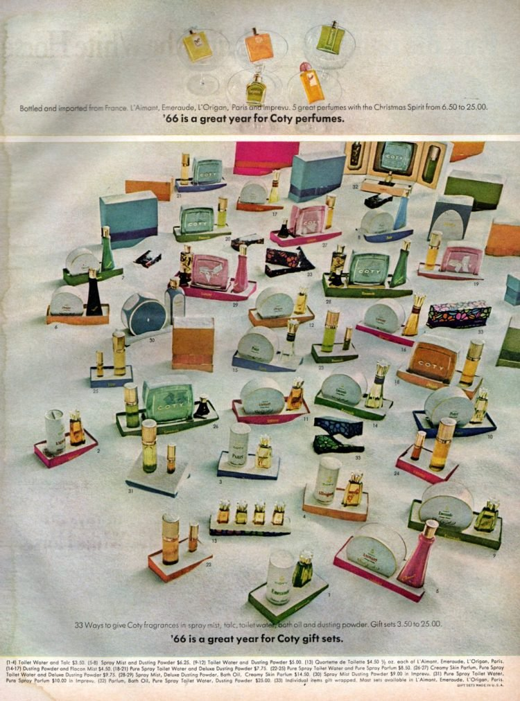 Vintage Coty cosmetic gift sets from 1966
