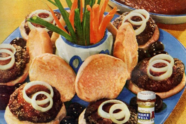 Vintage Cowpunchers hamburger recipe from Nov 1955