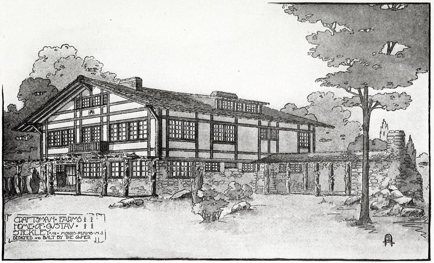 Front view of the Stickley home at Craftsman Farms, Morris Plains, New Jersey