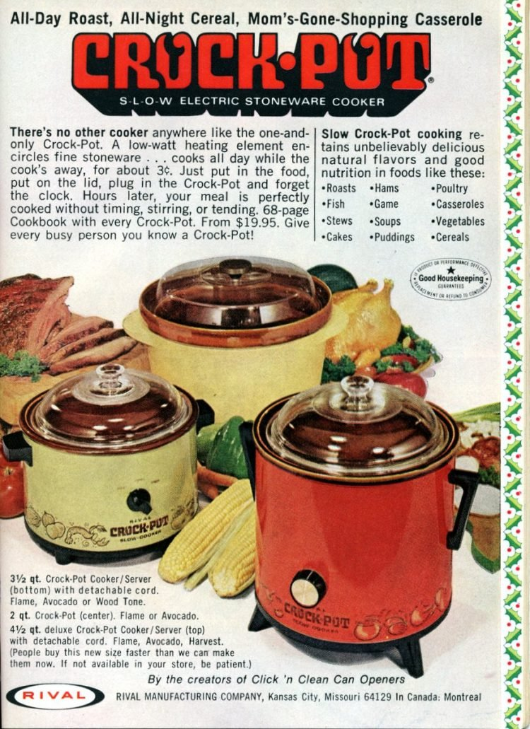 Genuine original Crock-Pot Slow Cookers from the '70s - 1972