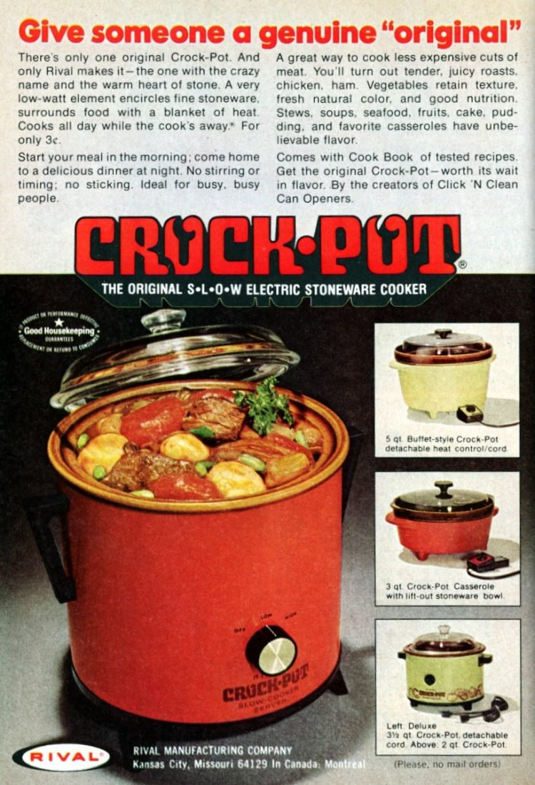 Genuine original Crock-Pot Slow Cookers from the '70s - 1973