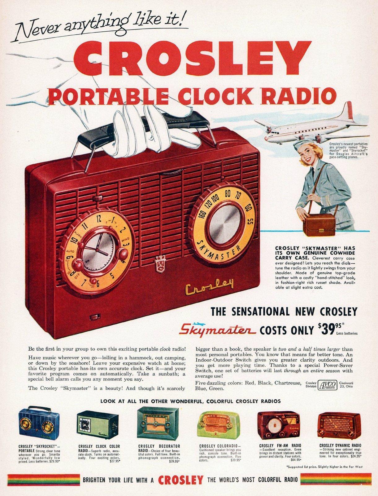 Vintage Crosley portable clock radio (1950s)