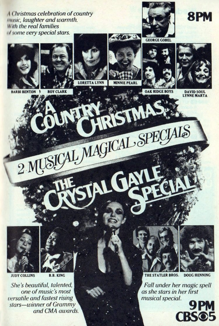 Vintage Crystal Gayle TV special for Christmas
