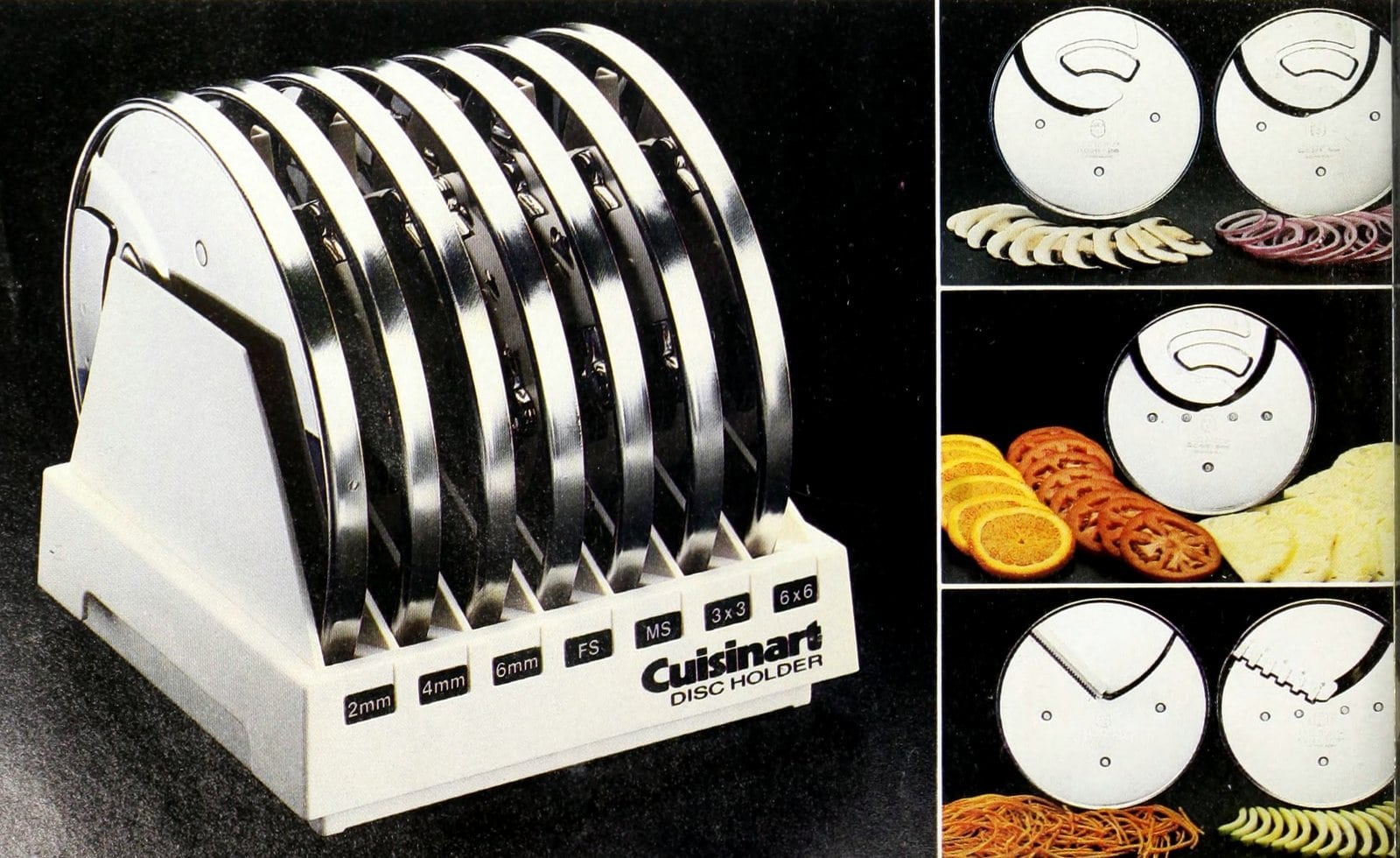 Vintage Cuisinart slicing blades from 1983