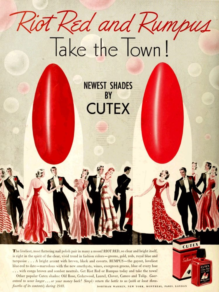 Vintage Cutex nail polish in reds from 1940