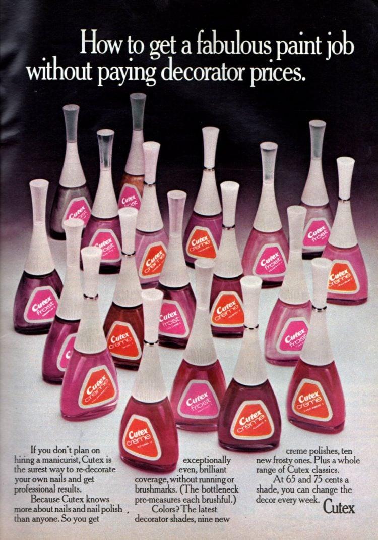 Vintage Cutex nail polish pinks and reds - 1973