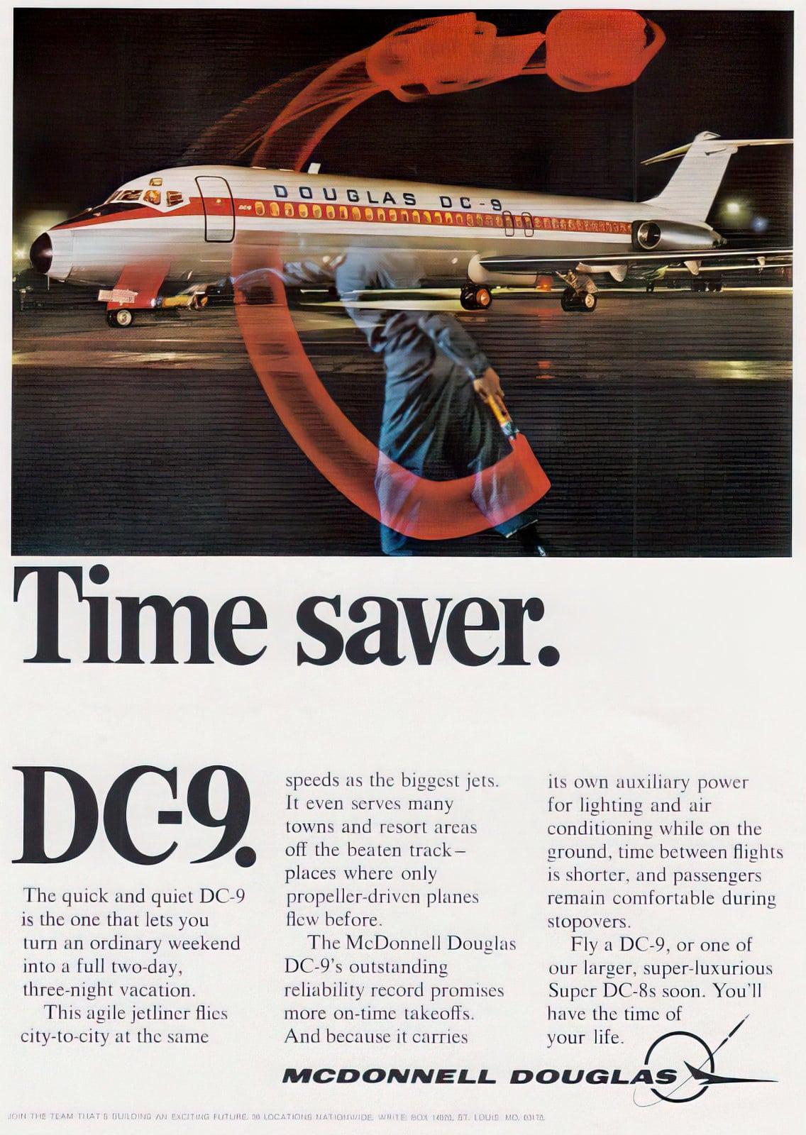 Vintage DC-9 plane - TIme saver - 1960s