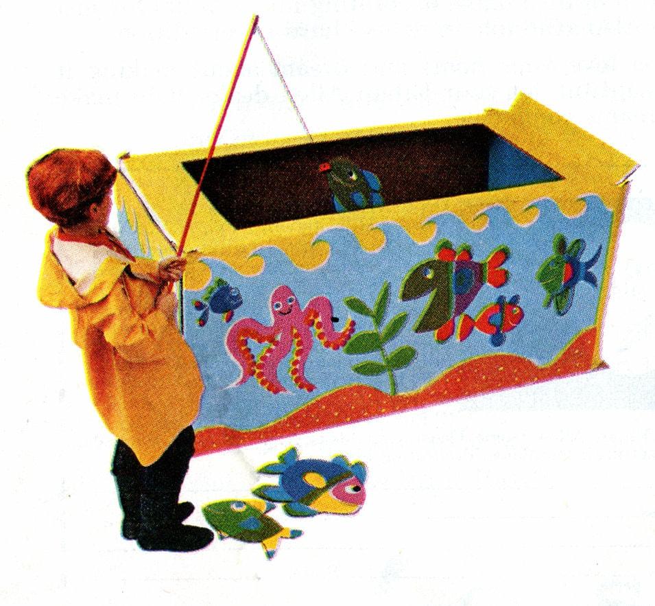 Vintage DIY cardboard box fishing pond game
