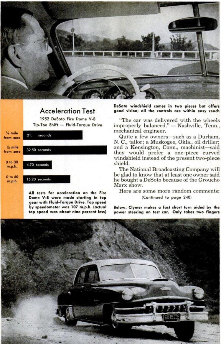Vintage DeSoto cars in Popular Mechanics Aug 1952 (1)
