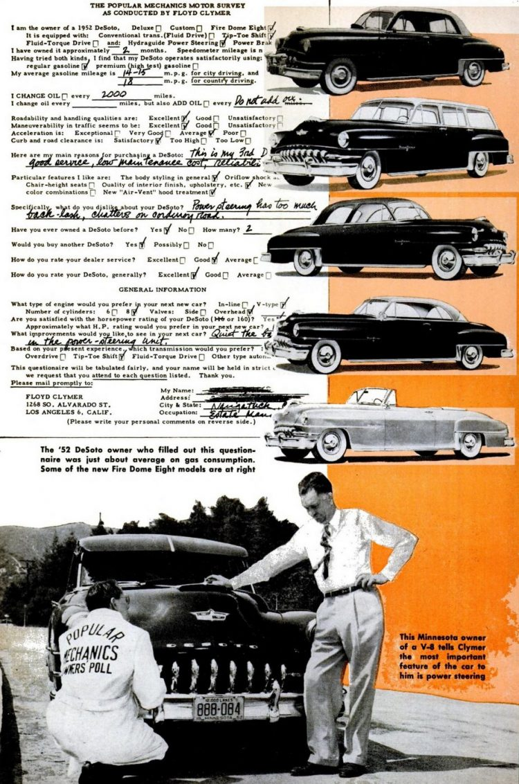 Classic DeSoto cars in Popular Mechanics Aug 1952 (3)