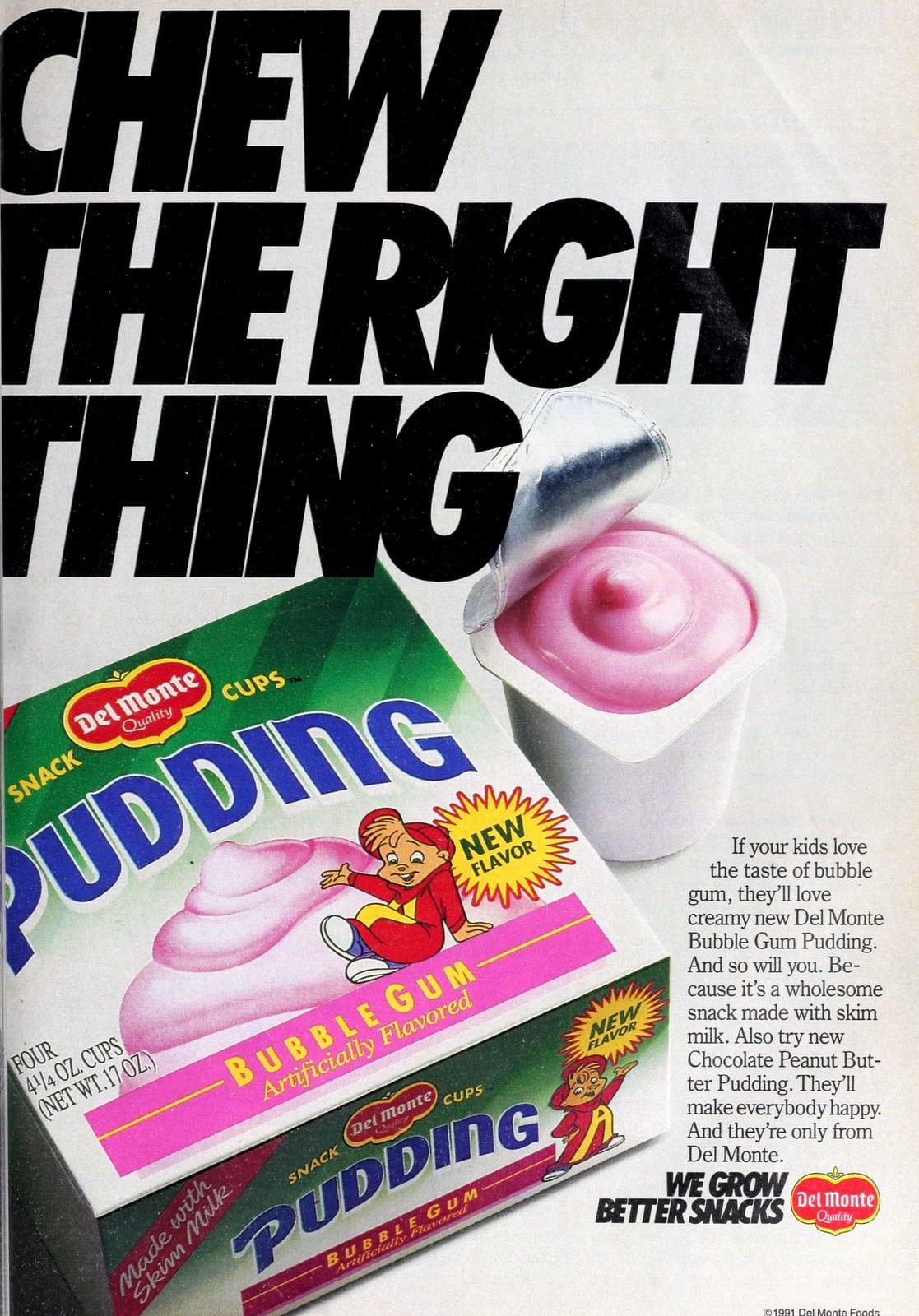 Vintage Del Monte bubblegum flavor snack pudding cups (1991)