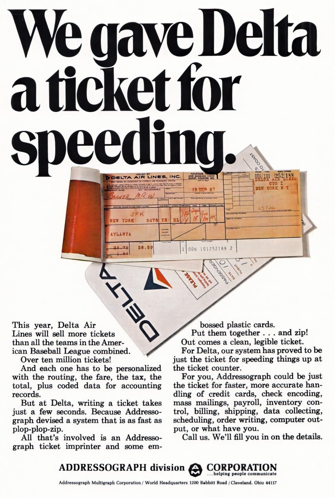 Vintage Delta Airlines ticket with red carbon paper (1969)