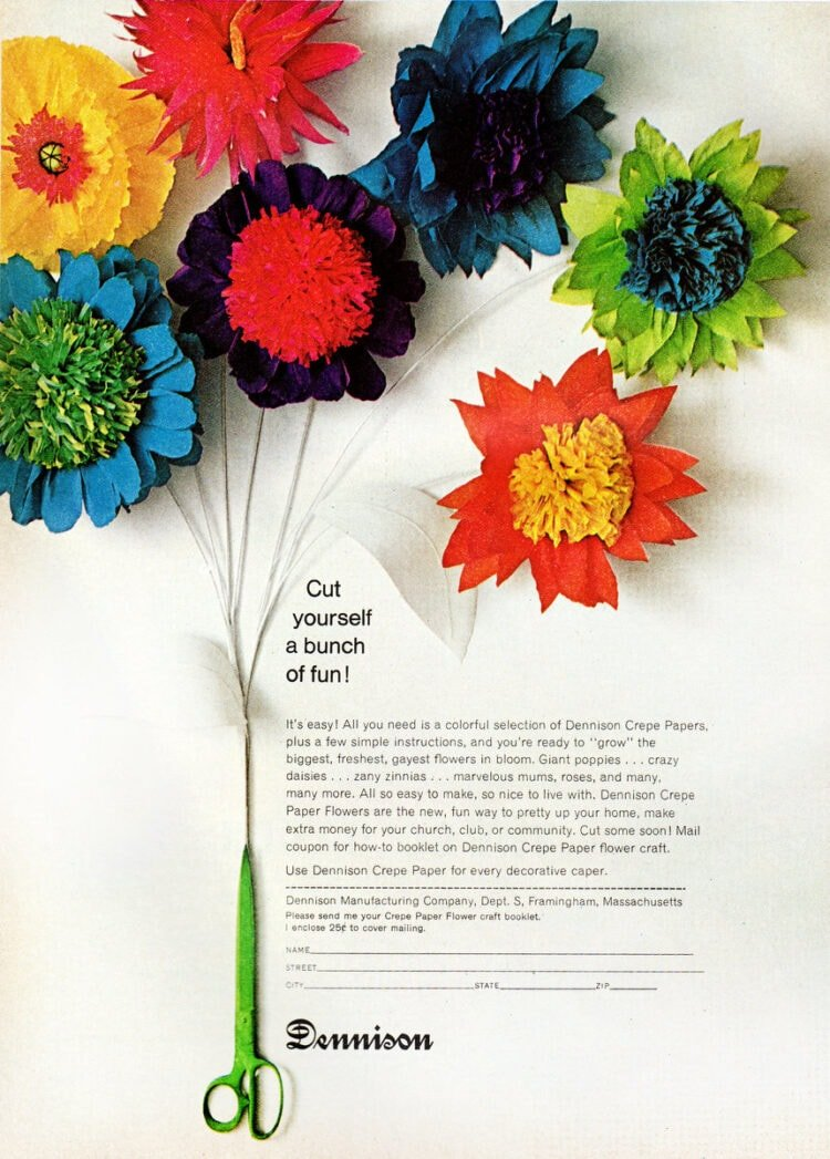 Vintage Dennison crepe paper flowers from 1967