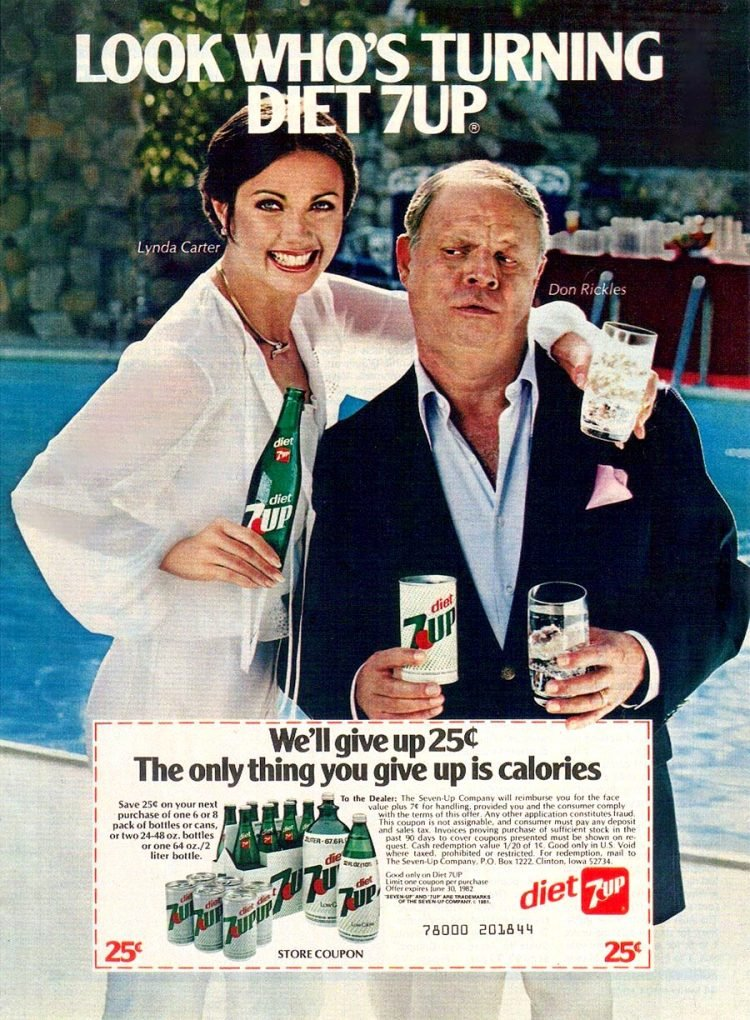 Vintage Diet 7-Up soda ad with Lynda Carter and Don Rickles