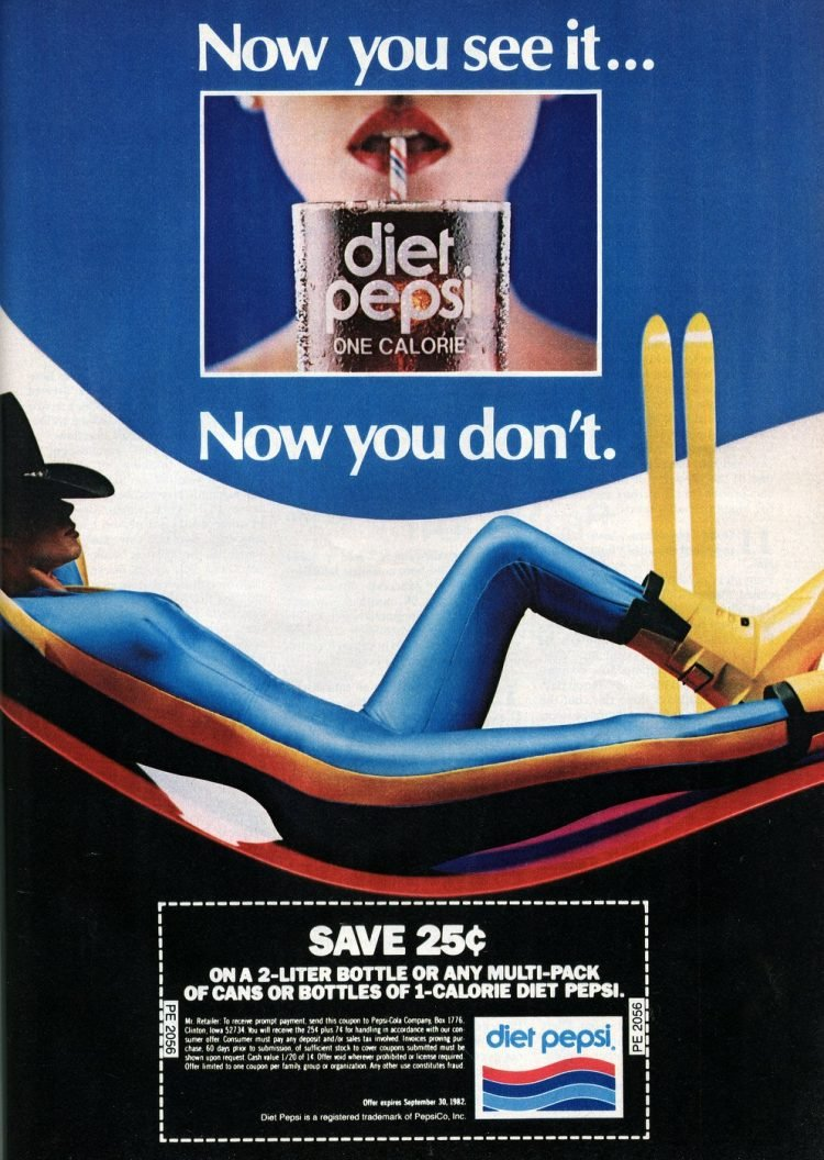 Vintage Diet Pepsi soda ad from 1982