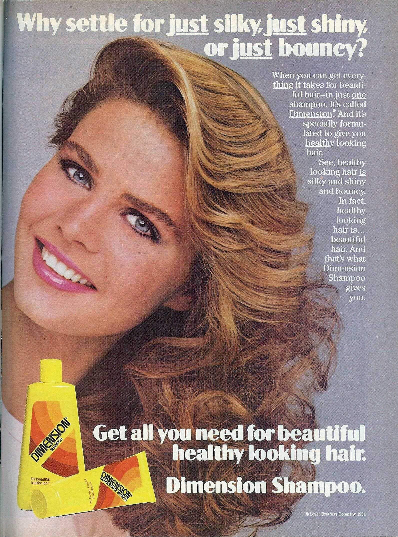 Vintage Dimension Shampoo beautiful healthy looking hair (1984)