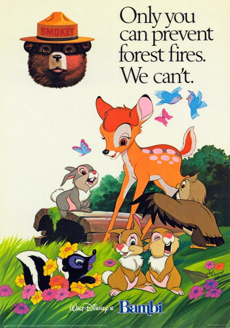 Vintage Disney Bambi and Smokey the Bear - Prevent forest fires