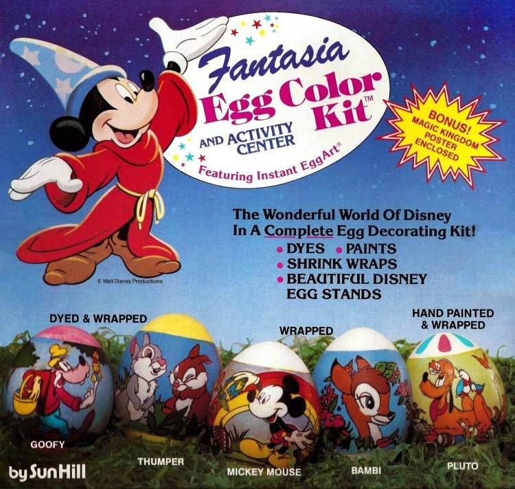 Vintage Disney Fantasia INSTANT EGGART Easter egg decorating kit