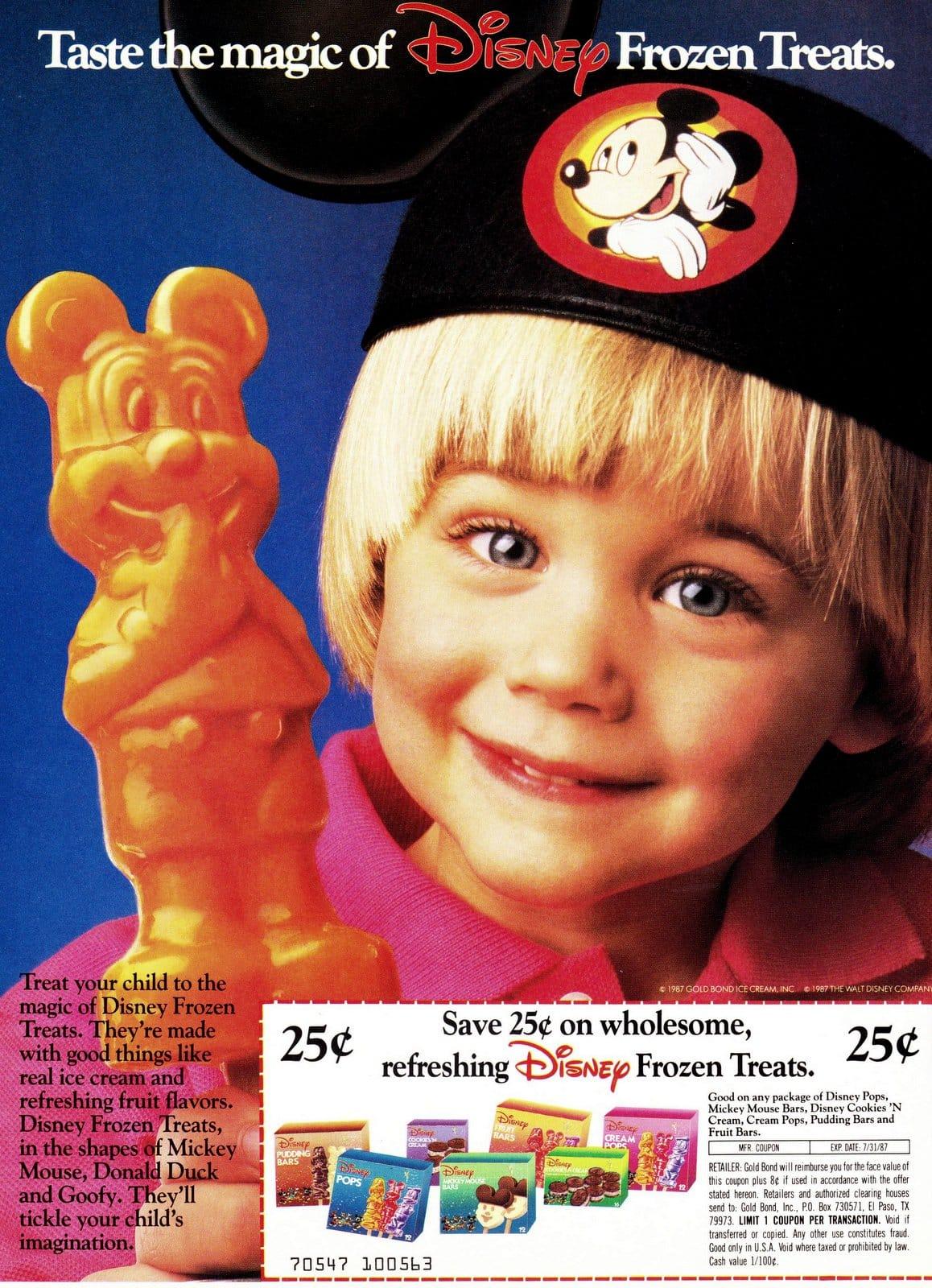 Vintage Disney shaped frozen treats (1987)