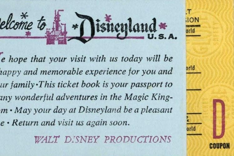 image about Disneyland Printable Coupons identified as Traditional Disneyland tickets: The A B C D E rides and