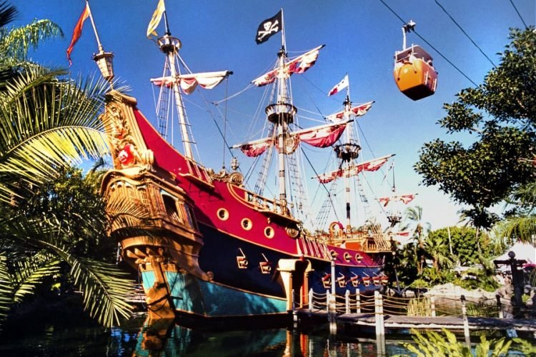 Vintage Disneyland Chicken of the Sea Pirate Ship and Restaurant postcard