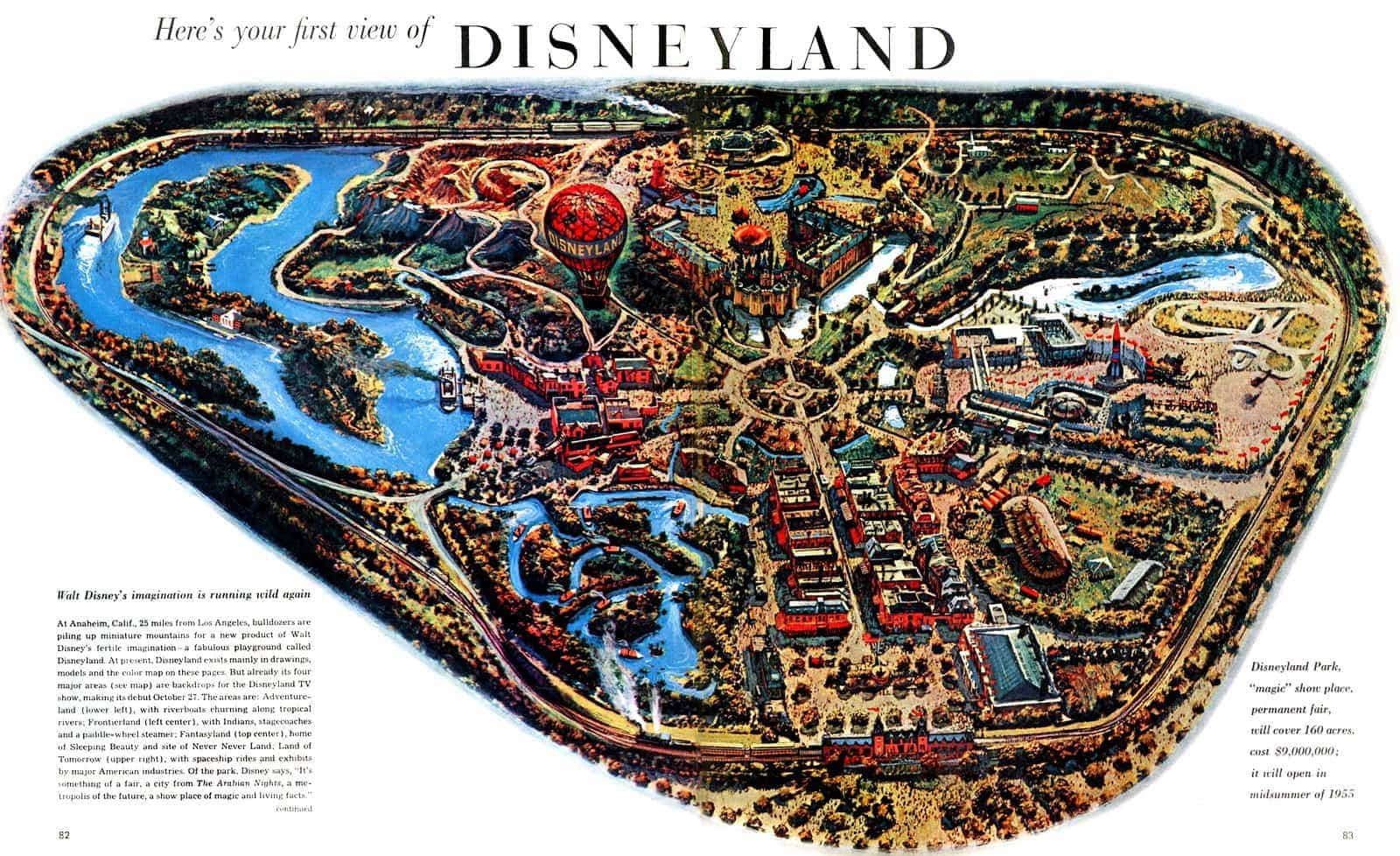Vintage Disneyland souvenir map from 1955
