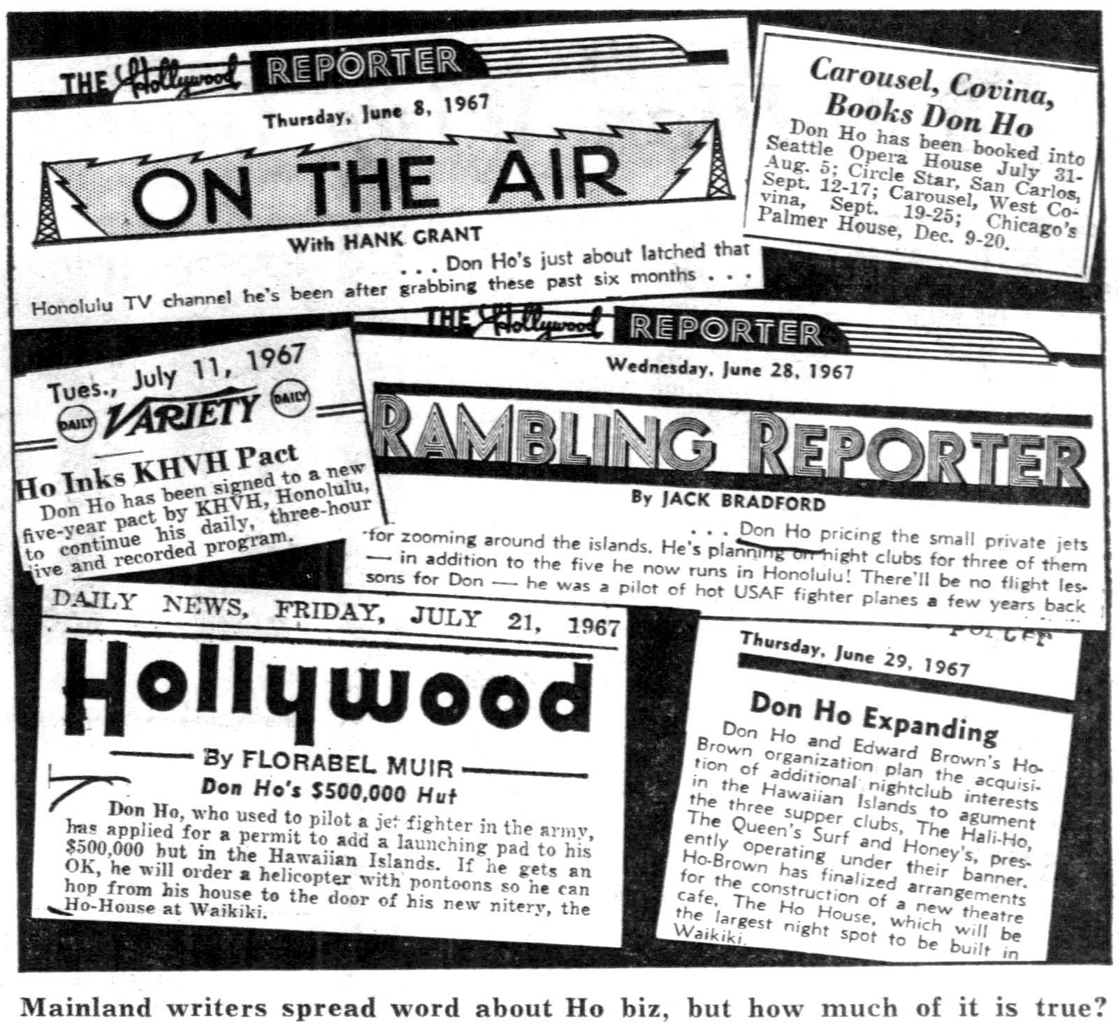 Vintage Don Ho headlines (1967)