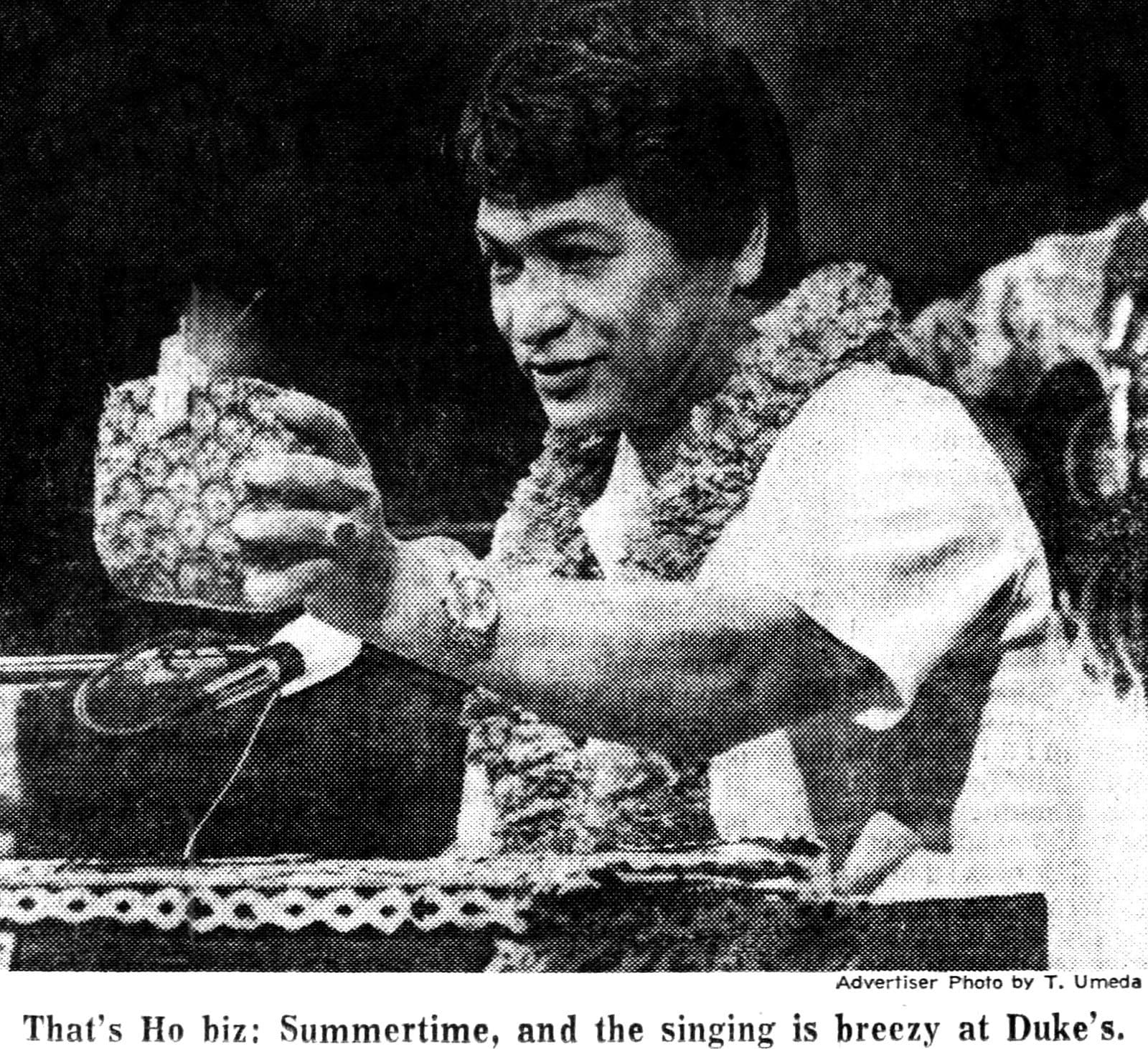 Vintage Don Ho in 1968 - On stage with pineapple drink