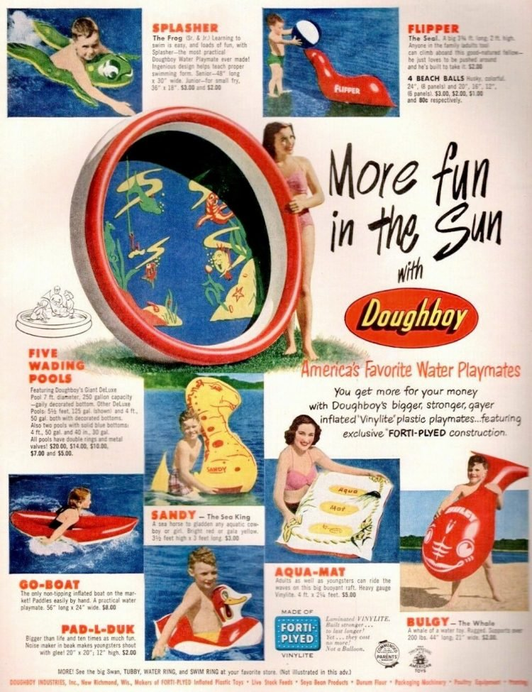 Vintage Doughboy pools and swimming fun from the 1950s