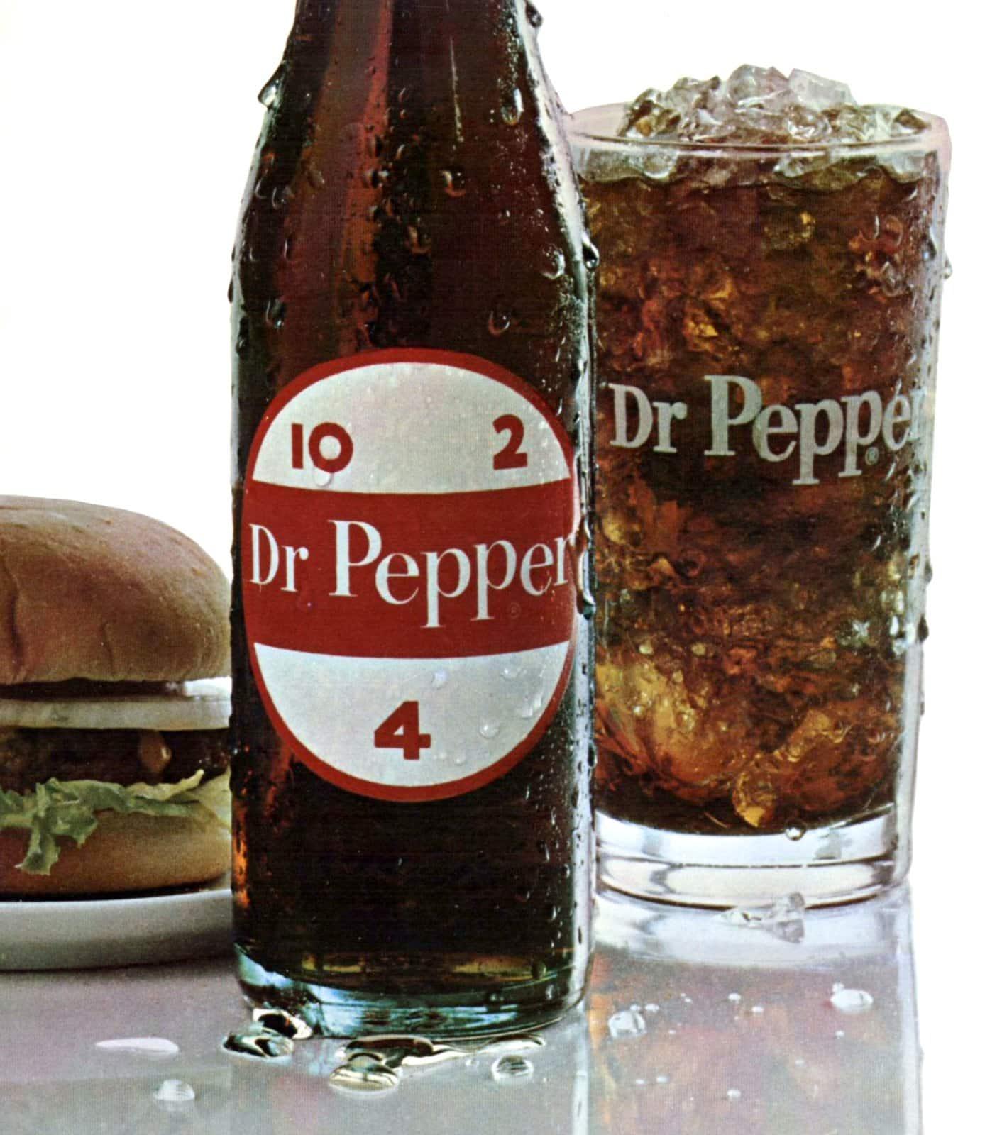Vintage Dr Pepper bottle and logo (1966)