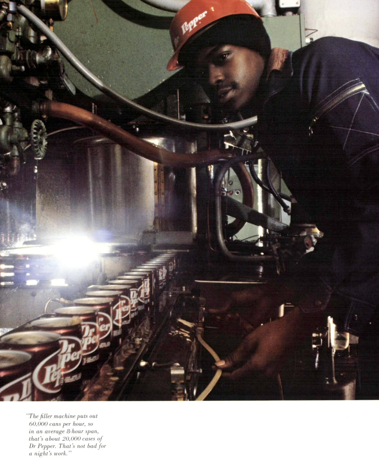 Vintage Dr Pepper cans on production line (1977)