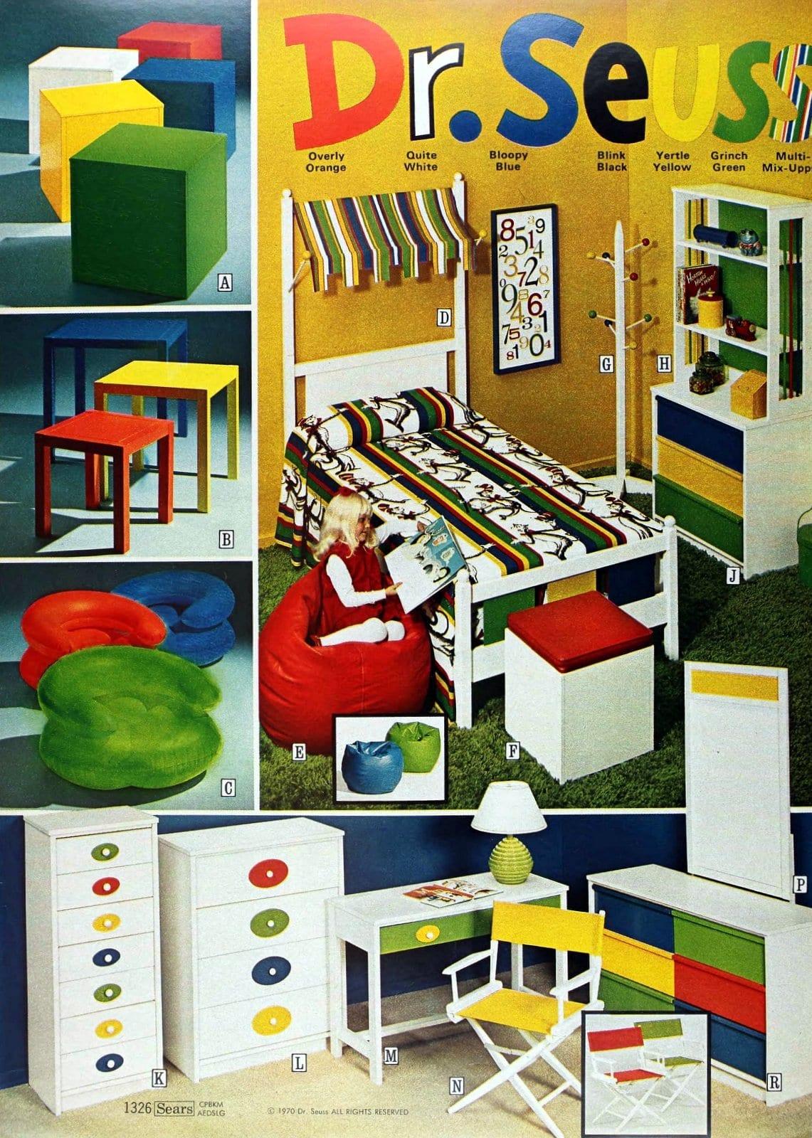 Vintage Dr Seuss bedroom furniture for kids (1971)
