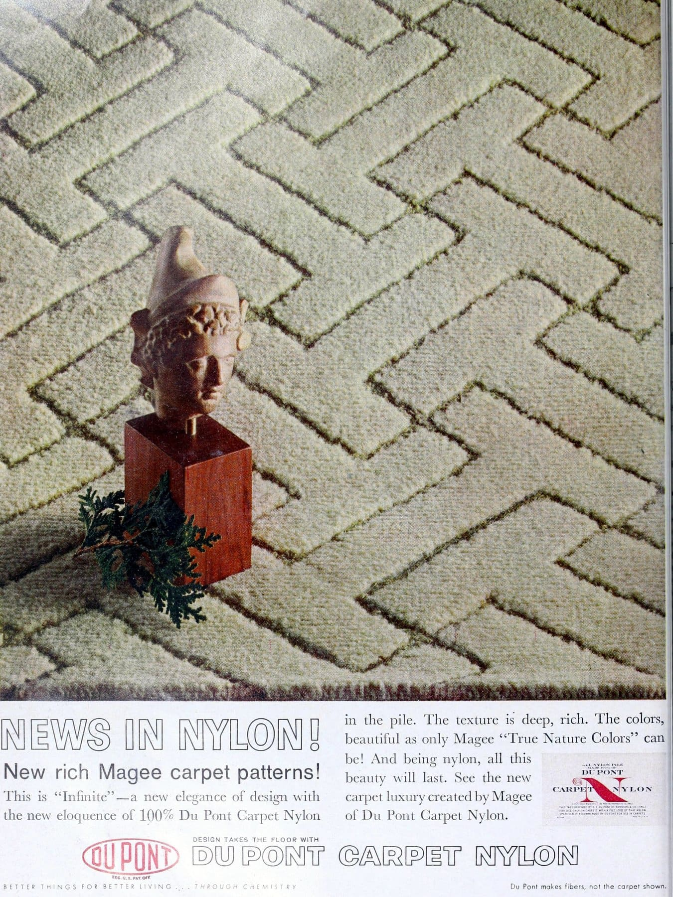 Vintage DuPont sculpted I-Beam shape carpeting pattern (1960)