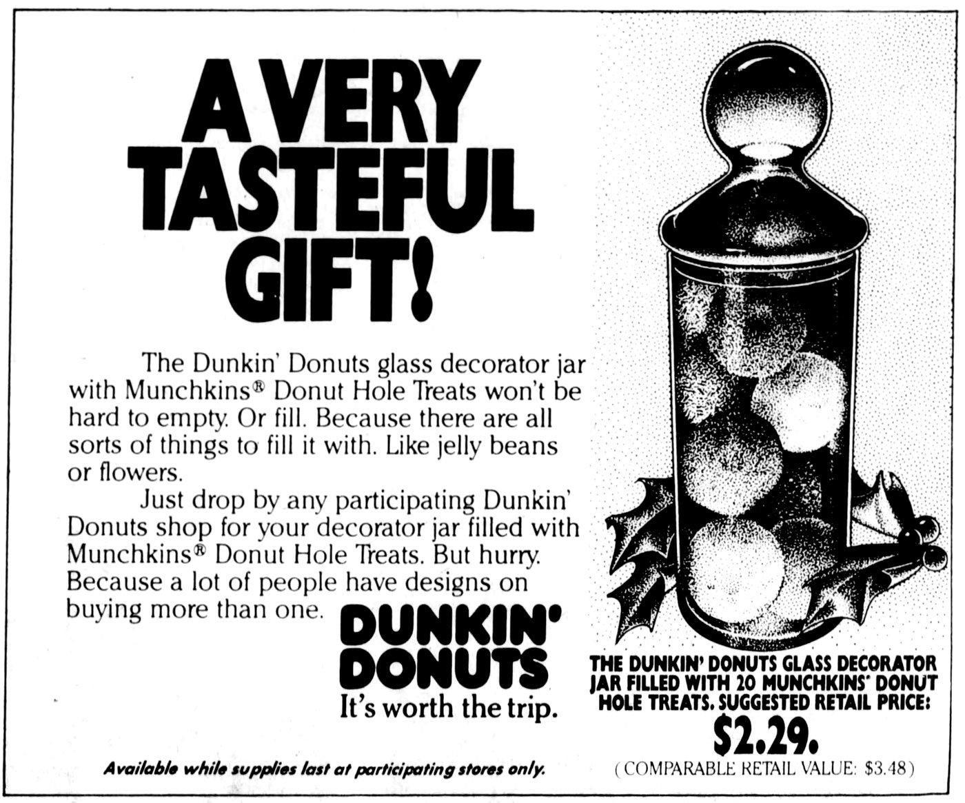 Vintage Dunkin Donuts glass decorator jar gift (1981)