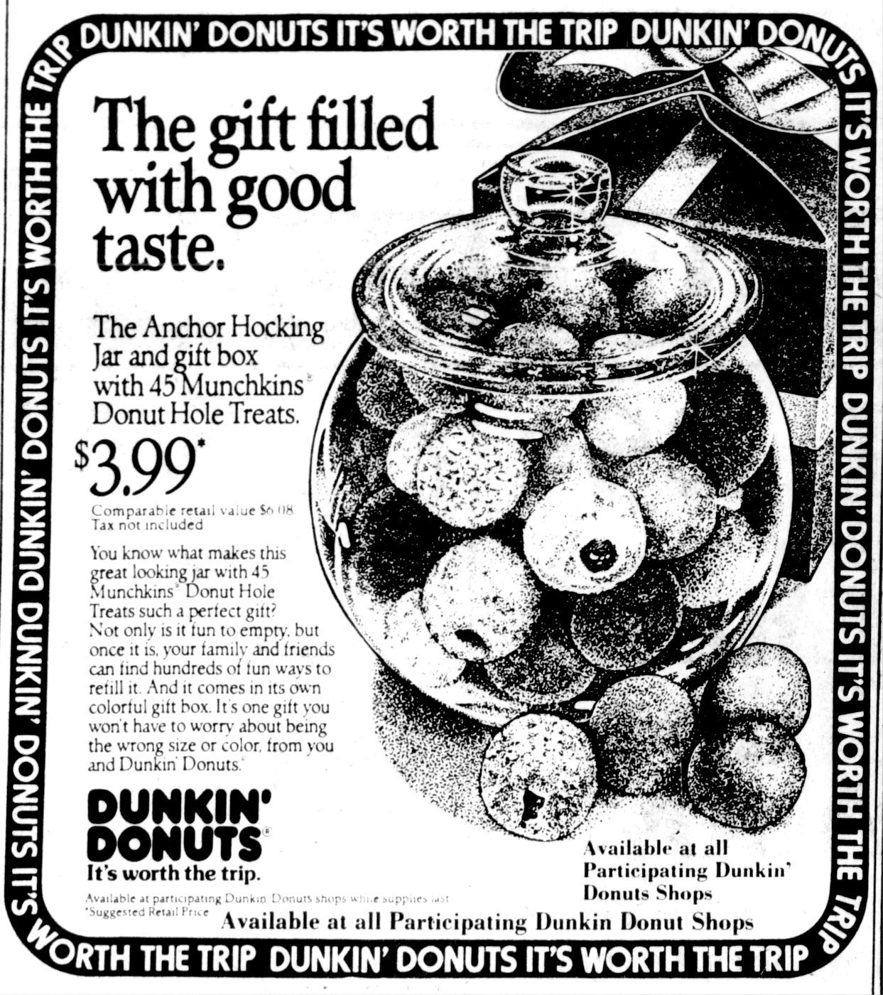 Vintage Dunkin Donuts vintage glass jar with donut holes (1984)