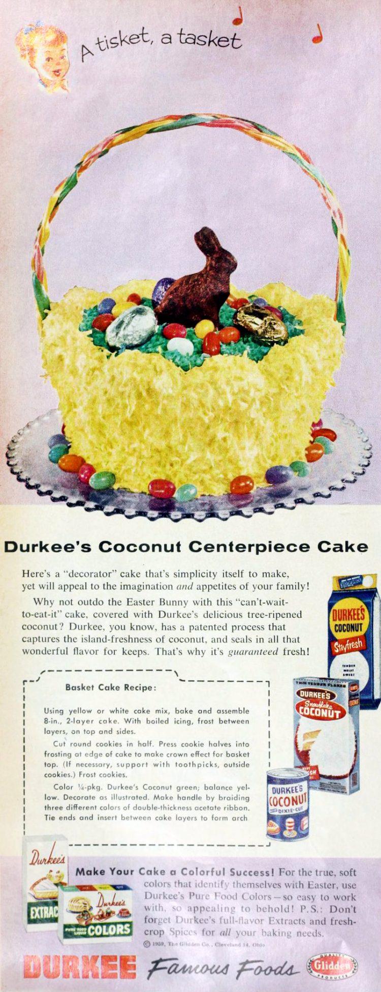 Vintage Durkee coconut Easter basket cake design