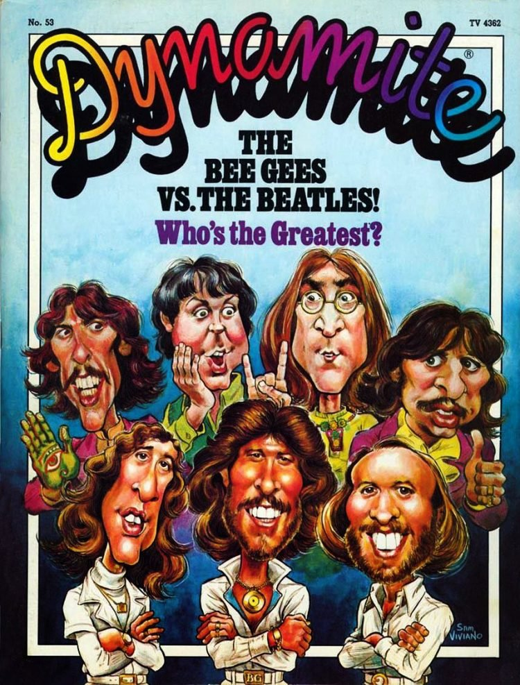 Vintage Dynamite magazine cover - Beatles and Bee Gees