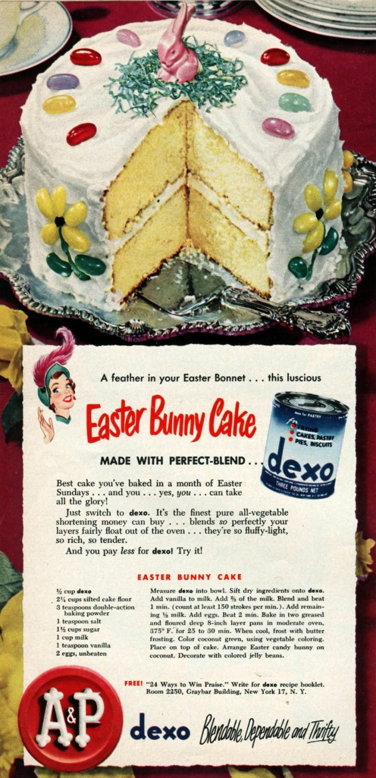 Vintage Easter bunny cake recipe from 1950