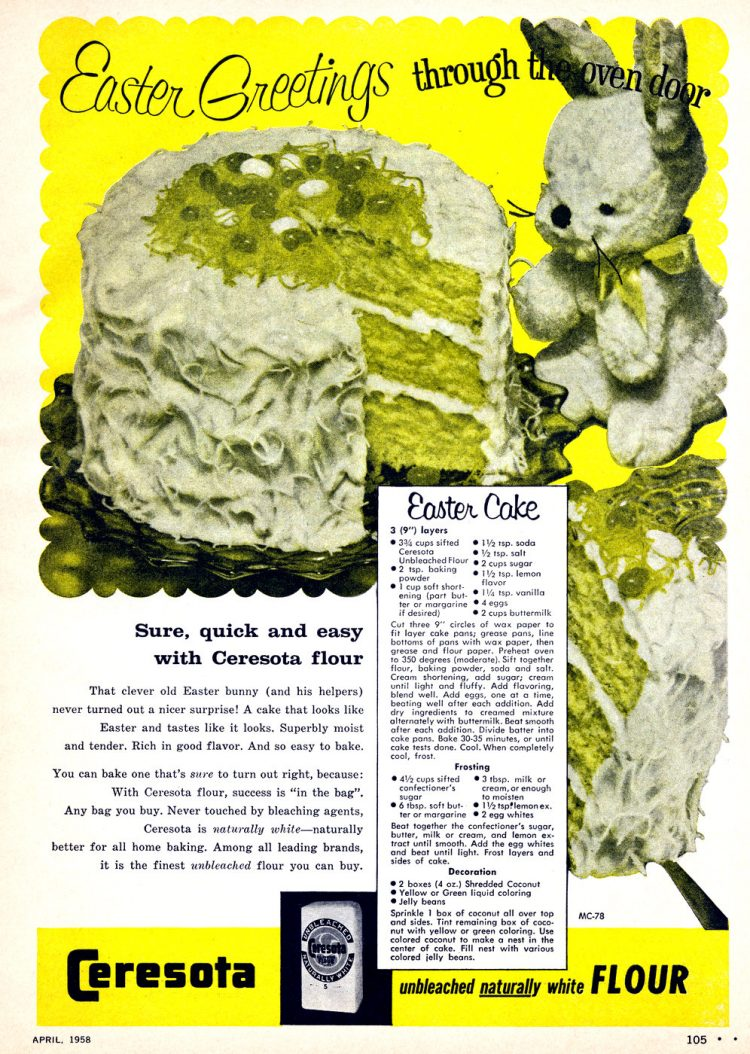 Vintage Easter cake - Greetings through the oven door (1958)