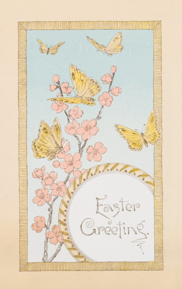 Vintage Easter card with butterflies - Prang