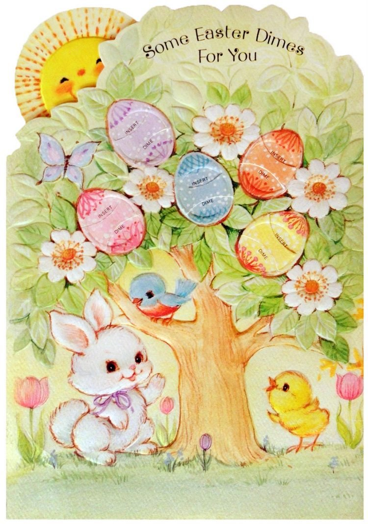 Vintage Easter dimes card from the 1970s 1980s