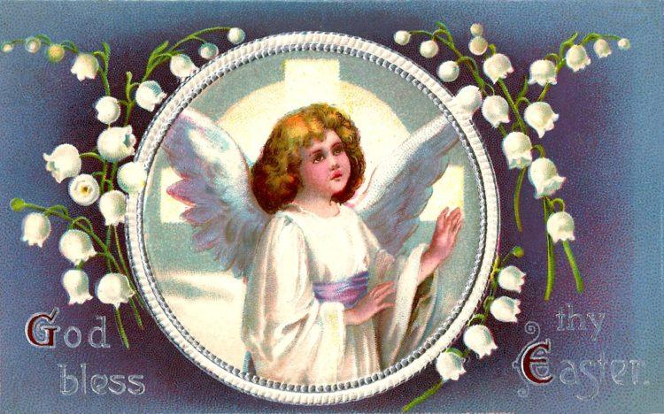 Vintage Easter postcard - God bless
