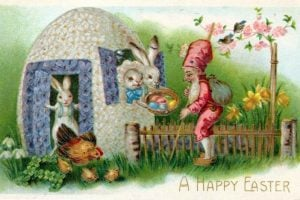Vintage Easter postcard from 1909 with an egg house